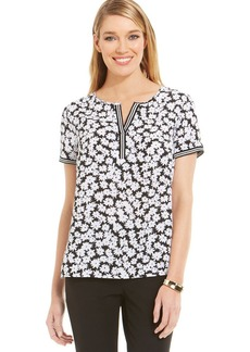Jones New York Signature Petite Rib-Trim Printed Top