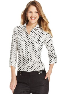 Jones New York Signature Petite Roll-Tab Apple-Print Shirt