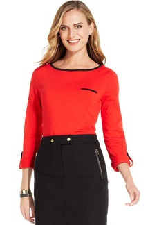 Jones New York Signature Petite Roll-Tab Contrast-Trim Tee