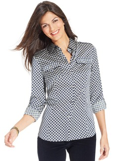 Jones New York Signature Petite Roll-Tab Printed Button-Down Blouse