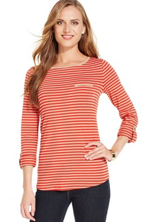Jones New York Signature Petite Roll-Tab-Sleeve Striped Tee