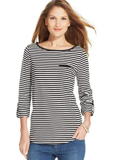 Jones New York Signature Petite Roll-Tab Striped Tee