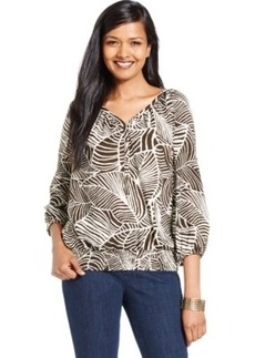 Jones New York Signature Petite Smocked-Hem Printed Peasant Top