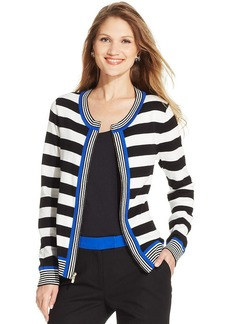 Jones New York Signature Petite Striped Contrast-Trim Zippered Cardigan