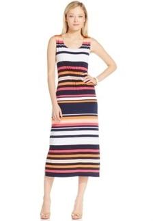 Jones New York Signature Petite Striped Smock-Panel Maxi Dress