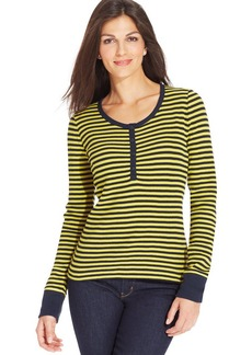Jones New York Signature Petite Striped Thermal Henley