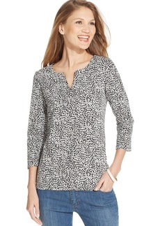 Jones New York Signature Petite Three-Quarter-Sleeve Printed Top