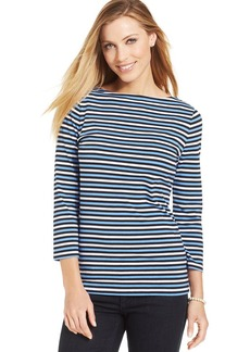 Jones New York Signature Petite Three-Quarter Sleeve Striped Top