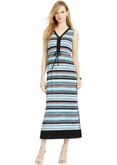 Jones New York Signature Petite V-Neck Striped Maxi Dress