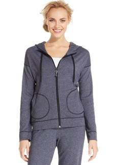 Jones New York Signature Petite Zippered Drawstring Hoodie