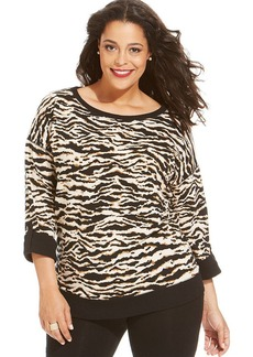 Jones New York Signature Plus Size Animal-Print Sweatshirt