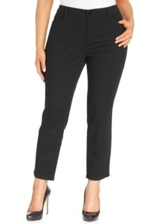 Jones New York Signature Plus Size Ankle-Length Straight-Leg Jeans, Black Wash