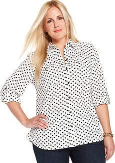 Jones New York Signature Plus Size Apple-Print Utility Shirt