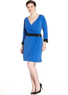 Jones New York Signature Plus Size Colorblocked Faux-Wrap Dress