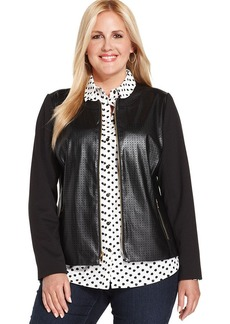 Jones New York Signature Plus Size Faux-Leather Perforated Jacket