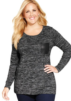 Jones New York Signature Plus Size Faux-Leather-Trim Space-Dyed Top