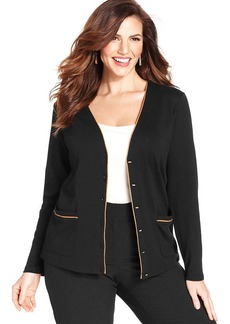 Jones New York Signature Plus Size Faux-Suede-Trim Cardigan
