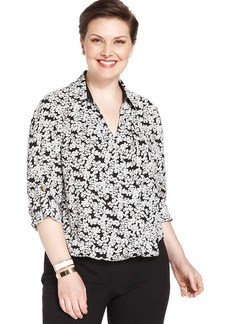 Jones New York Signature Plus Size Floral-Print Faux-Wrap Blouse