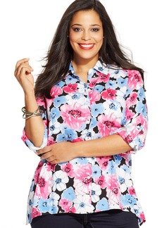 Jones New York Signature Plus Size Floral-Print Handkerchief-Hem Shirt