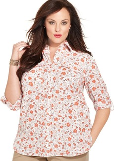Jones New York Signature Plus Size Floral-Print Utility Shirt