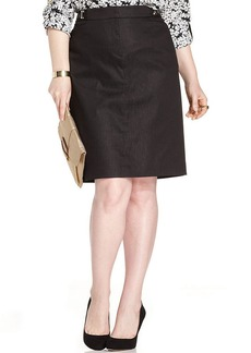 Jones New York Signature Plus Size Hardware-Trim Pencil Skirt