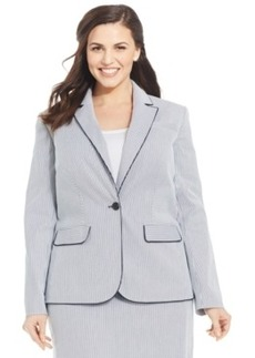 Jones New York Signature Plus Size Julie Seersucker One-Button Jacket