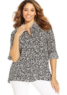 Jones New York Signature Plus Size Leopard-Print Shirt