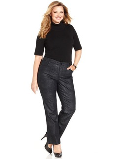 Jones New York Signature Plus Size Lexington Snakeskin-Print Straight-Leg Jeans
