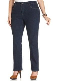 Jones New York Signature Plus Size Lexington Straight-Leg Jeans, Indigo Blue Wash