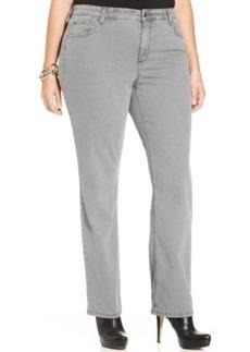 Jones New York Signature Plus Size Lexington Straight-Leg Jeans, Pearl Grey Wash