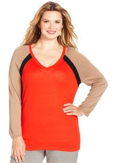 Jones New York Signature Plus Size Long-Sleeve Colorblocked Sweater