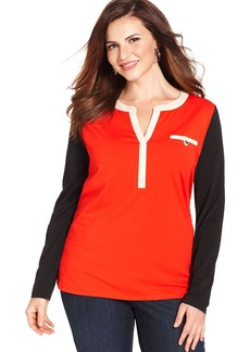 Jones New York Signature Plus Size Long-Sleeve Colorblocked Top