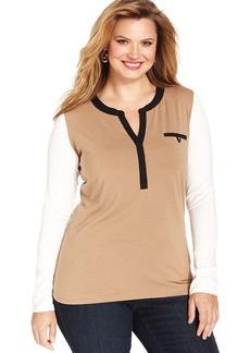 Jones New York Signature Plus Size Long-Sleeve Colorblocked Top