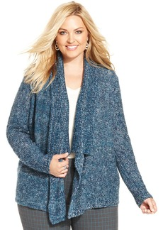 Jones New York Signature Plus Size Marled-Knit Draped Cardigan