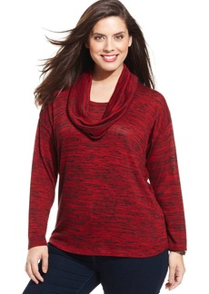 Jones New York Signature Plus Size Marled-Knit Removable-Scarf Sweater