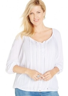 Jones New York Signature Plus Size Pintucked Peasant Blouse