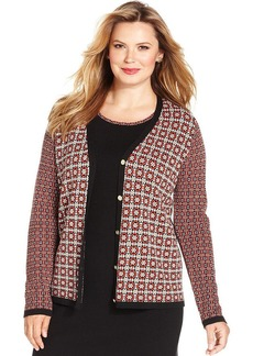 Jones New York Signature Plus Size Printed Cardigan