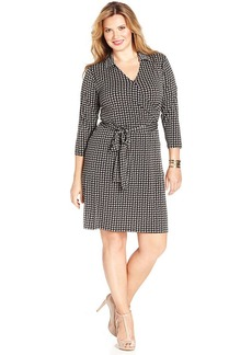 Jones New York Signature Plus Size Printed Faux-Wrap Dress