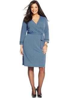 Jones New York Signature Plus Size Printed Faux-Wrap Dress