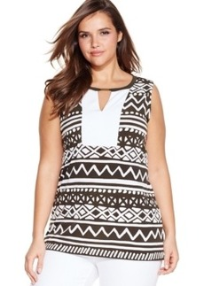 Jones New York Signature Plus Size Printed Keyhole Top