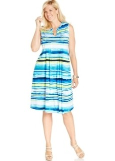 Jones New York Signature Plus Size Printed Pintucked Dress