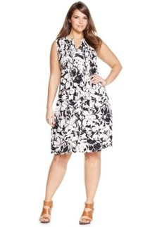 Jones New York Signature Plus Size Printed Sleeveless Dress
