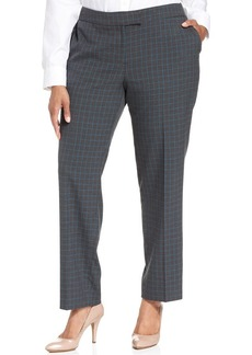 Jones New York Signature Plus Size Printed Straight-Leg Trousers