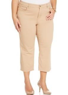 Jones New York Signature Plus Size Rhinestone-Pocket Cropped Jeans