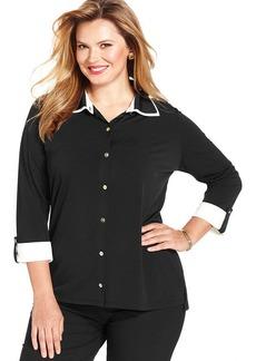 Jones New York Signature Plus Size Roll-Tab-Sleeve Colorblocked Shirt