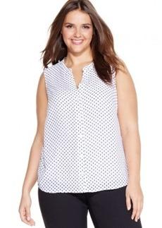 Jones New York Signature Plus Size Sleeveless Dot-Print Shirt