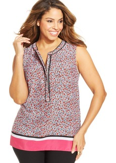 Jones New York Signature Plus Size Sleeveless Floral-Print Top