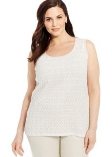 Jones New York Signature Plus Size Sleeveless Lace Shell