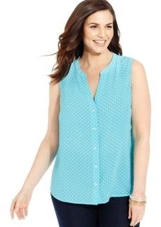 Jones New York Signature Plus Size Sleeveless Polka-Dot Shirt
