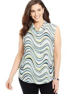 Jones New York Signature Plus Size Sleeveless Printed Shirt